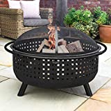 Harrier Woven Outdoor Fire Pits - 42in | Fire Pits For Garden | Intricate Woven Design - Steel Garden Fire Pits | Firepit Bowl With Spark Screen, Log Grate & Poker