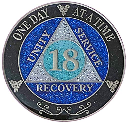 18 Year AA Recovery Silver Color Plated Glitter Medallion, Black Rainbow, Blue, Silver Glitter Coin, Epoxy Covered (AA 18 Year Glitter Medallion)