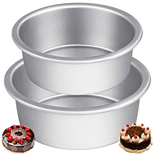 Tortiere Rotonde in Alluminio CHEPL 2 Pezzi 4/5 inch Tortiera Tonda Antiaderente Teglia Tonda in Alluminio Anodizzato Tortiera Rotonda per Torte Nuziali, Compleanni e Natale