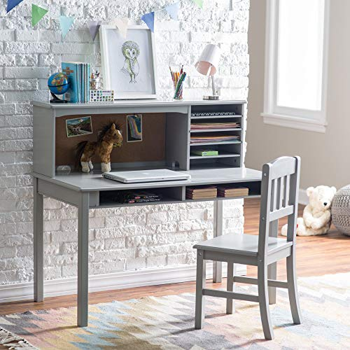 Guidecraft Children's Media Desk and Chair Set – Gray: Student's Study Computer Workstation and Writing Table with Hutch and Storage Shelves, Wooden Kids Bedroom Furniture
