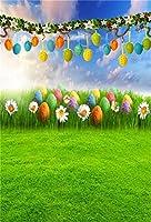 AOFOTO ハッピーイースターの背景、春の野原での卵とウサギの写真撮影用背景幕。新生児、お子さま、赤ちゃん、女の子、男の子、趣のあるポートレート、花と草の草原、写真スタジオ、壁紙。