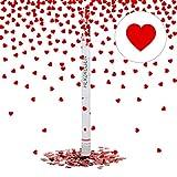 Relaxdays Cañón, Corazones rojos, 80 cm, Distancia de 6-8 m, Artículos de fiesta, Lanzador confeti, Rojo, color (10020858)