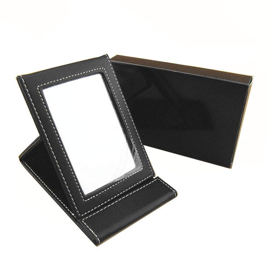 火薬描写金貸しCikoume 化粧鏡 折り畳み鏡 デスクトップ ミラー 携帯 A4サイズ 卓上 鏡 上質PUレザー使用 【ブラック】