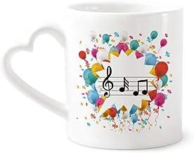 cold master DIY lab Music 5-Le Staff Blue Festival Balloon Mug Coffee Cup Pottery Ceramic Heart Handle