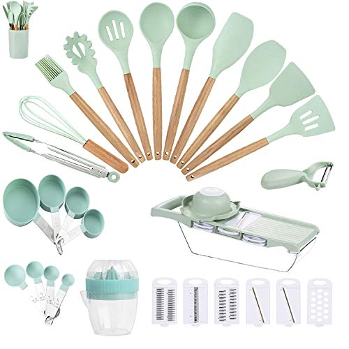 Silicone Kitchen Utensils 33 PCS Cooking Utensils Sets with Holder, Nuloofen Wooden Handle Cooking Tool sets Mint Green Kitchen Gadgets Tools Set for Nonstick Cookware BPA Free Kitchen Tools Gift…