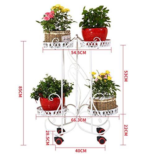 GWFVA 3 lagen smeedijzeren bloempotten, woonkamer binnen en buiten, balkon, hoge hakken, roze bloem, groene roos, hangende orchidee (kleur: rood)