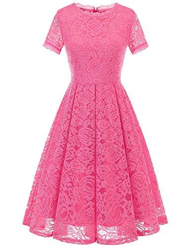 DRESSTELLS Vestido elegante para dama de honor para mujer, con encaje floral, vestido de cóctel formal. - rosa - Large