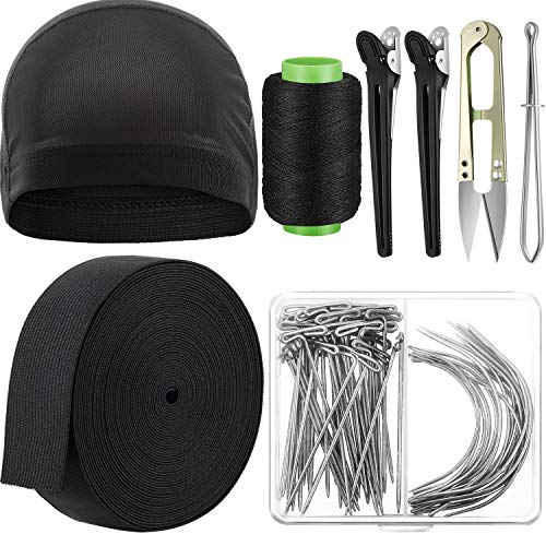 Wig Making Cap Pins Needles Set, Dome Mesh Wig Cap, 70 Piece Wig T Pins C Curved Weaving Needles, 11 Yards Elastic Wig Band Strap Spool, Black Thread Hair Clips and Scissors Tweezers Wig Sewing