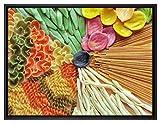 Pixxprint Zusammenstellung von bunten Nudeln Leinwandbild