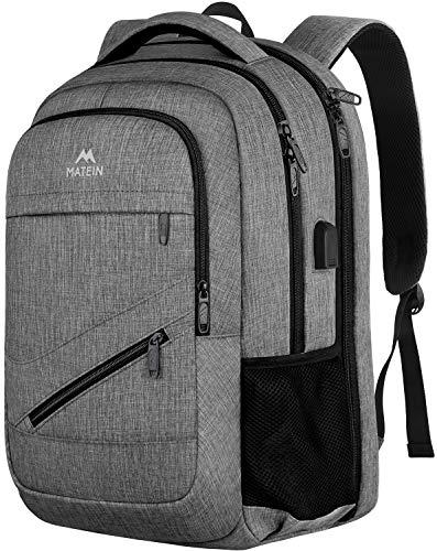 MATEIN reisrugzak voor laptop, laptop rugzak met USB-oplader, rugzak voor 17 inch / 17 inch (43,94 cm), anti-diefstal rugzak voor dames en school - grijs