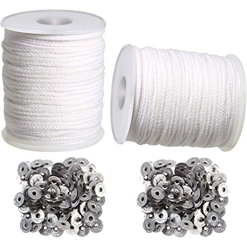 cherrypop Candle DIY Tools,2 Rolls Braided Candle Wick Cotton Core and 200 Pcs Candle Wick Sustainer Tabs for Candles DIY Crafts