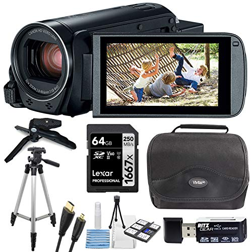 Canon Vixia HF R800 Camcorder with Lexar 64GB, Cleaning Kit, Vivitar Camera Bag, Two Tripods and Card Reader