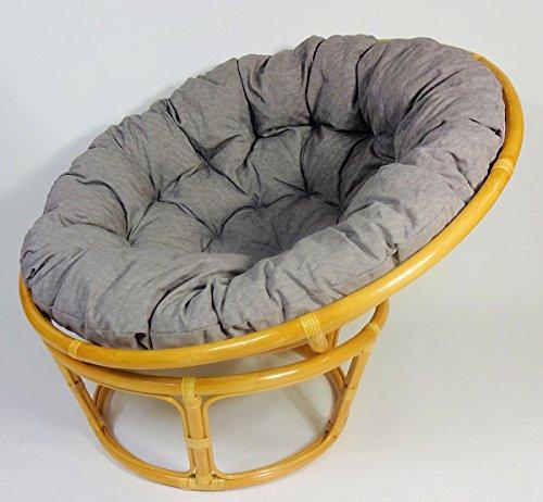 Rattan Papasan Sessel inkl. hochwertigen Polster, D 115 cm, Fb. Honig, Polster dunkel grau