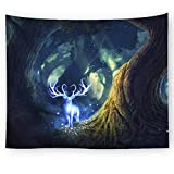 Brandless Dream Forest Tapestry Deer Animal Amazing Landscape Wall Hanging Decoración del hogar para la Sala de Estar del Dormitorio
