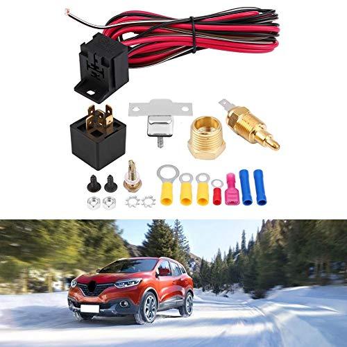 Jadpes Termostato de Motor General automotriz, termostato de refrigerante de Motor Universal para automóvil + Sensor + relé de 50 A + Accesorio Encendido A 200º y Apagado A 185º