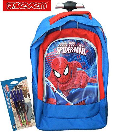 Trolley da Viaggio Zaino Scuola Seven Big Spiderman Ultimate a 2 Ruote Spallacci a Scomparsa Nuoco Modello + Omaggio