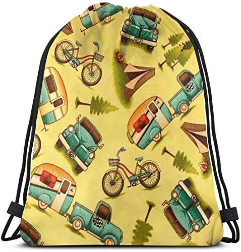KINGAM Bolsas de gimnasio para hombres jóvenes, para coche y bicicleta, con cordón, para senderismo, playa, viajes, resistente, equipo único unisex