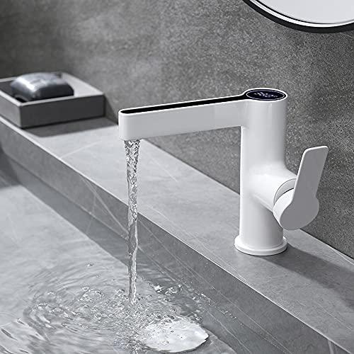 ALYHYB Grifo para lavabo de baño grifo LED inteligente pantalla digital temperatura fría y caliente lavabo grifo latón lavabo blanco