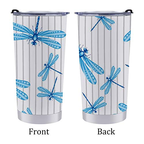 Stainless Steel Tumbler Travel Mug,Car Coffee Cup with Lid,Blue Cute Blue Dragonfly,for Home Office Outdoor,for Men/Women 20oz 6.9×3.4Inches