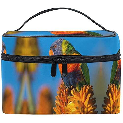 Trousse de Maquillage Perroquet Oiseau Fleur Voyage Cosmétique Sacs Organisateur Train Case Toilette Make Up Pouch