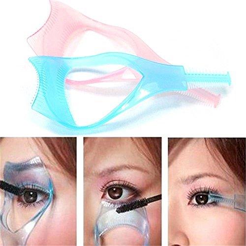 Guía Mujeres Proteger Ojos Color Aleatorio Aplicador Herramienta Maquillaje Pincel 3-en-1 Pestañas Peine Plantilla Mascara Shield