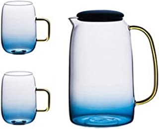 Gizayen Glass Jug with Lid and Spout- Gradient Color Marble Cold Water Glass Bottle High Temperature Resistant, Hot/Cold Water Carafe with Handle, Beverage Pitcher for Homemade Juice & Iced Tea