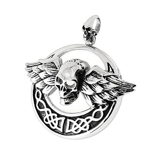 Monster piercing tribal piraten vliegen schedel in Keltisch schild roestvrij staal Biker mannen pedant sieraden
