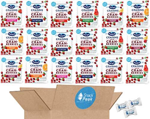Ocean Spray Craisins Individual Packs – Snack Peak Variety Gift Box (18 packages) – Original, Cherry, Orange, Strawberry, Raspberry Lemonade, Watermelon