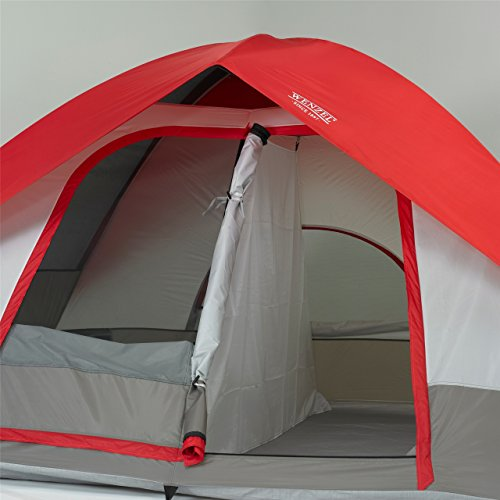 Pine Ridge 5, 10 x 8 Foot, 4-5 Person 2-Room Dome Tent - Red