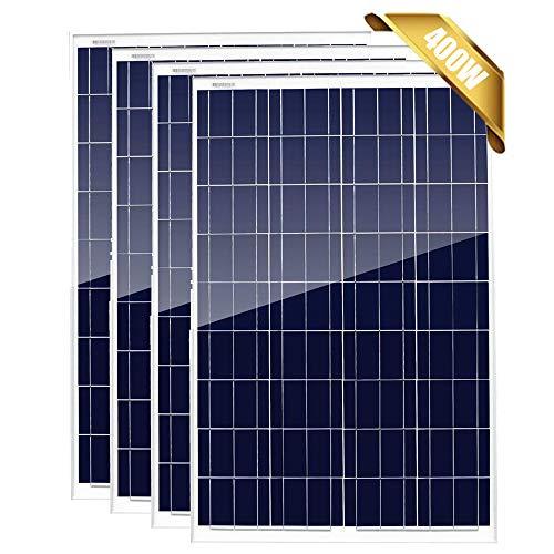 Giosolar 400 W 12 V paneles solares policristalinos paquete de 4 módulos fotovoltaicos de alta eficiencia 12 24 voltios cargador de batería para autocaravana, techo, cabina