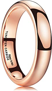 King Will Glory 2mm 4mm 6mm Rose Gold Tungsten Ring Wedding Band High Polished for Men Women
