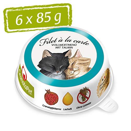 GranataPet Filet à la Carte Thunfisch & Pute, Nassfutter für Katzen, Filet-Stückchen ohne Getreide, Katzenfutter ohne Zuckerzusatz, hoher Fleischanteil, 6 x 85 g