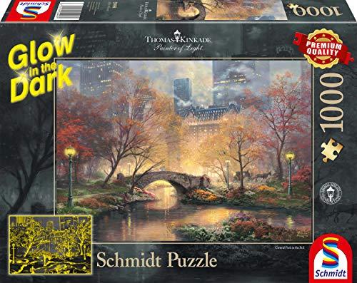 Schmidt Spiele- Thomas Kinkade, Central Park in Autunno, Glow in The Dark Puzzle da 1000 Pezzi, Multicolore, 59496