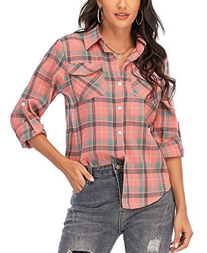Enjoyoself Damen Langarm Karierte Bluse Baumwolle Flanellhemd Button Down Boyfriend Blusen für Alltag Oktoberfest Rosa,XL