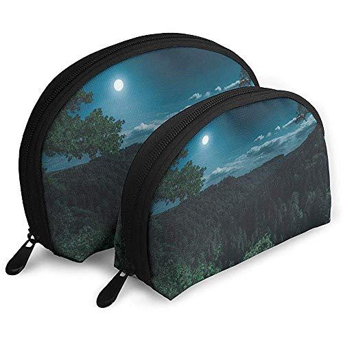 Schwarzwald mysteriöse Mond tragbare Taschen Make-up Tasche Kulturbeutel, Multifunktions tragbare Reisetaschen kleine Make-up Clutch Pouch mit Reißverschluss