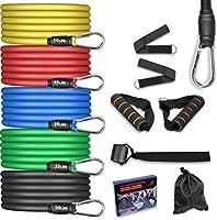 AGM Set de Bandas de Resistencia Fitness, 5 Bandas elásticas de látex con Asas, Bandas elásticas para Entrenar con...