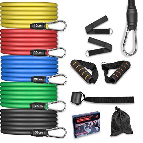 AGM Set di Fasce di Resistenza,5 Bande Elastiche in Lattice con Maniglie,Resistenza a 100 LB Elastici Fitness, per Attrezzi da Fitness, Yoga, Pilates