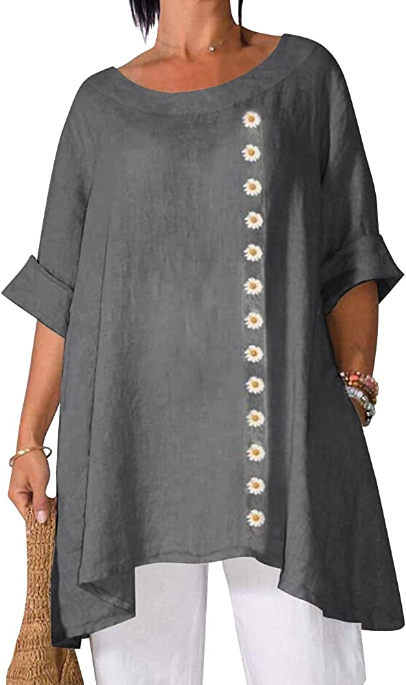 Tunic Tops to Wear with Leggings, Plus Size Swing Loose Flowy 3/4 Sleeve Shirts Blouse Asymmetrical Linen Tops for Women