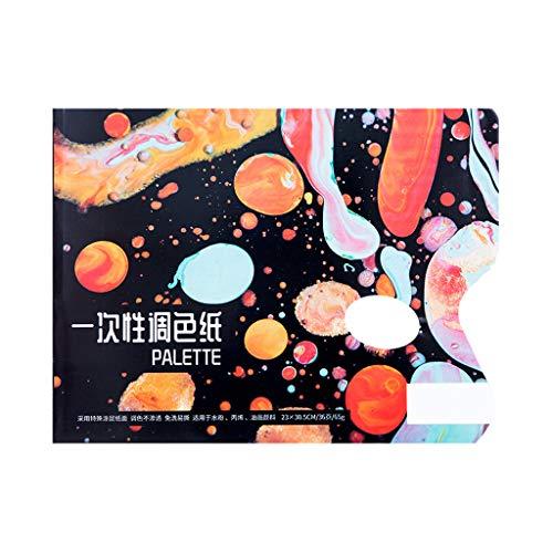 VIccoo Kleur Palet, Schilderij Materiaal Papier Wegwerp Wasbaar Kleur Palet 36 Vellen Kleurpapier Gouache Acryl Toning - S