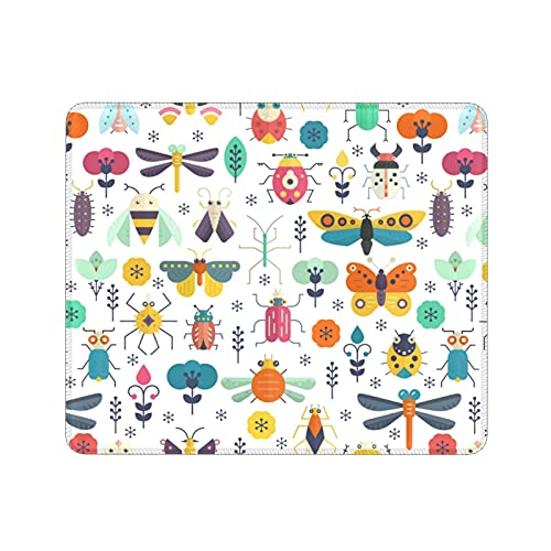 Cute Bug Gaming Mouse Pad with Stitched Edge,Square Non-Slip Rubber Mouse Mat for Office Laptop Computer Pc Men Women,11.8 X 9.8 in