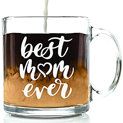 Best Mom Ever Glass Coffee Mug - Best Birthday Gifts For Mom, Women - Unique Mothers Day Gift Idea For Mom, Wife, or Her From Son, Daughter, Husband - Cool Present For a Mother- Fun Novelty Cup -13 oz