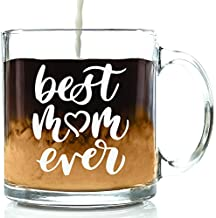 Best Mom Ever Glass Coffee Mug - Mothers Day Gifts for Mom, Women - Unique Birthday Gift Idea for Her from Daughter, Son, Husband, Kids - Cool Present for a New Mother, Wife - Fun Novelty Cup - 13 oz