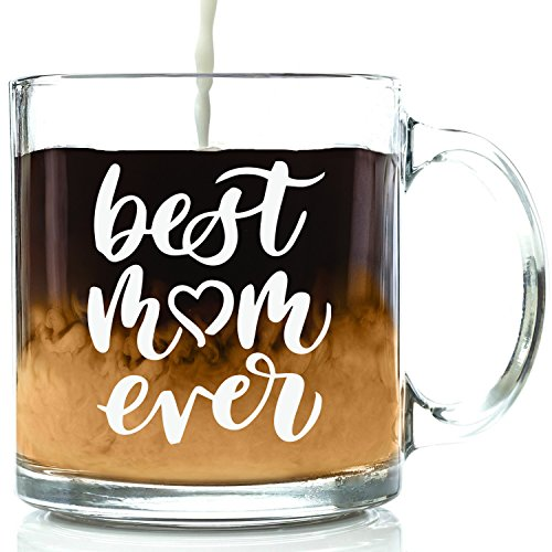 Best Mom Ever Glass Coffee Mug - Cool Christmas Gifts for Mom, Women - Unique Xmas Gift Idea for Her from Daughter, Son, Husband, Kids - Top Birthday Present for a New Mother, Wife - Fun Novelty Cup