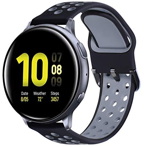 KADES for Samsung Galaxy Watch 3 41mm Band, Galaxy Active 2 Watch Band, 20mm Soft Silicone Sport Replacement Strap with Quick Release Pin for Galaxy Watch Active 40mm 44mm (Black/Gray)