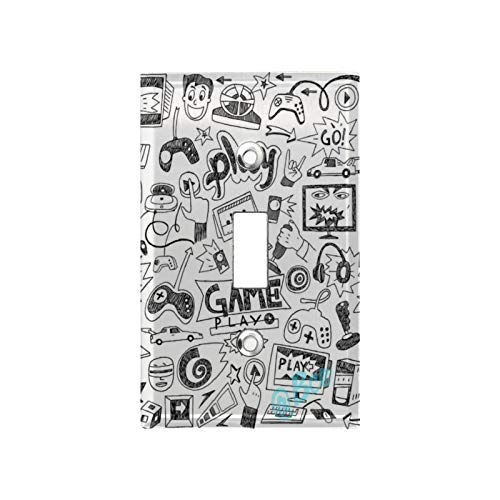 1 Gang Wall Plate Switch Plate Cover Monochrome Sketch Style Gaming Design Racing Monitor Device Gadget Teen 90'S Classic Decorator Single Light Switch Plate Home Decoration