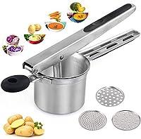 ballery schiacciapatate, schiacciapatate acciaio, potato ricer in acciaio inox con 3 colini sostituibili, pressa professionale per purè di patate, frutta, verdure
