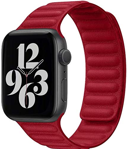 Fengyiyuda Compatibile per Apple Watch Cinturino 38mm 40mm 42mm 44mm,Regolabile Cinturino a Maglie in Pelle di con Forte Chiusura Magnetica Compatibile per iWatch Series SE/6/5/4/3/2/1(42/44mm Rosso)