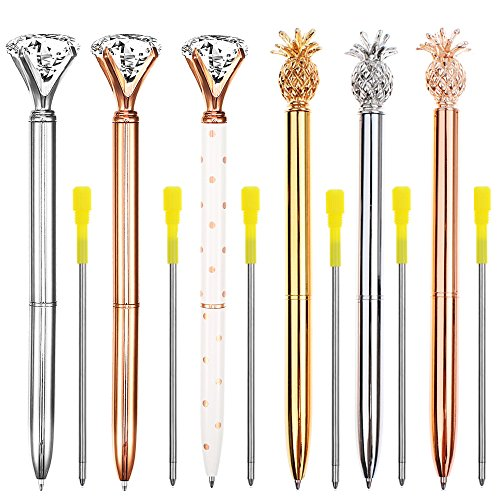 3 Pcs Big Crystal Diamond Pens and 3 Pcs Pineapple Pens Ballpoint Pens Rose Gold/Silver/White Metal Ballpoint Pen Black Ink for Women, Co-Workers, Kids, Girls
