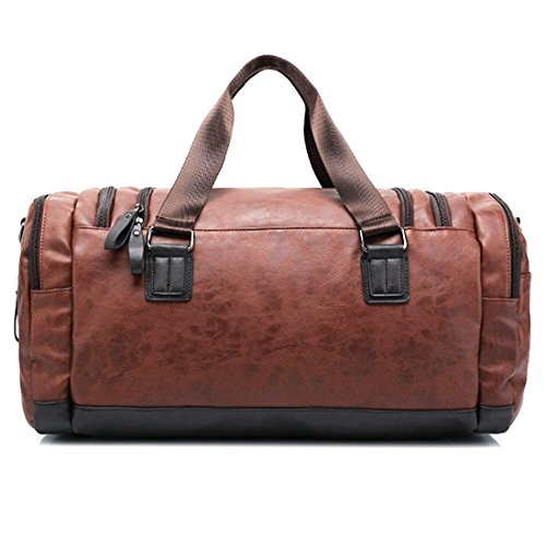 TXXCI Grande Capacità Pu Borsa Da Viaggio Satchel Handbag Uomo Borsone Weekend Sacca a Spalla per Palestra 55 * 29 * 25 CM