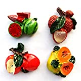 Imán para nevera con diseño de frutas, sandía, papaya, lichi, manzana, 4 tipos de recuerdo 3D, colección de regalo para el hogar y la cocina